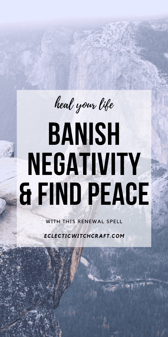 This is a simple witch spell that works to banish negativity and heal your life and emotions. Banish anxiety, depression, and find inner peace again with this renewal spell. This is easy witchcraft that anyone can do with just a few tools! Find your inner peace again after a break up, death in the family, or any other reason to mourn. Find peace of mind. Finding peace and love for yourself isn't easy, but it's a little bit easier with a spell and meditation like this. #witchcraft #peace #spell
