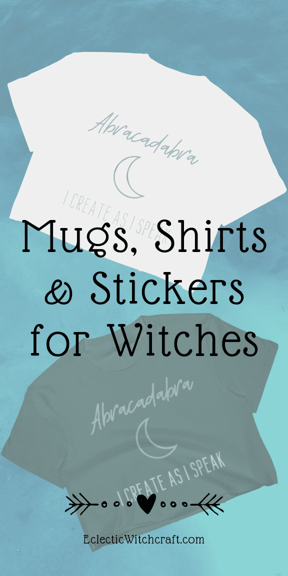 Abracadabra, So Mote It Be, Blessed Be Witch Merch for eclectic witches. Aesthetic witch shirts, cool pagan coffee mugs, cute Wiccan stickers, and eco friendly occult tote bags. Perfect for kitchen witches, green witches, chaos witches, and more. Show off your witch style, or use the stickers on your pagan altar. Includes witch symbols like the pentagram. You don't have to wait for Halloween to use witch magic! Forest witch, male witch, coven cute witch. #witch #fashion #pagan #wicca