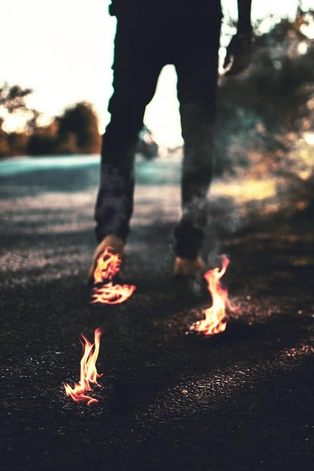 person walking on fire