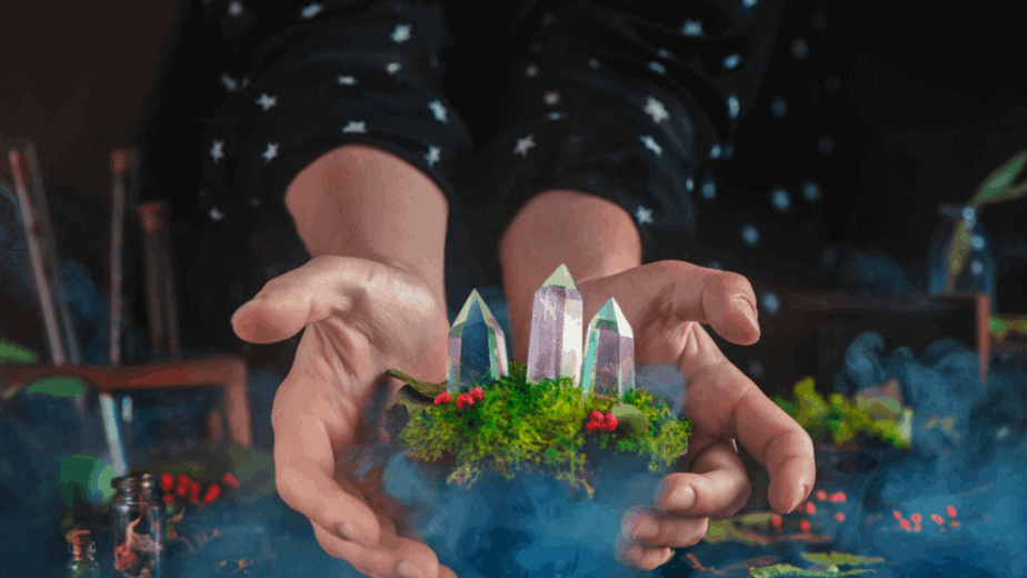 Decorative image of a person holding crystals