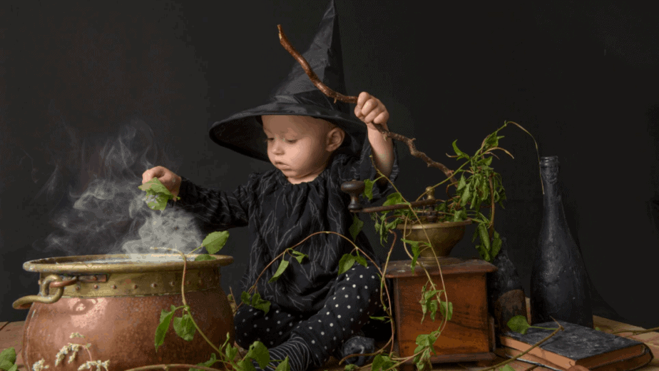 Decorative image of a baby witch