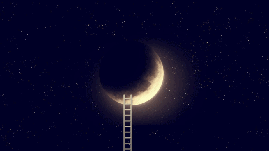 Decorative image of a ladder leading up to a crescent moon