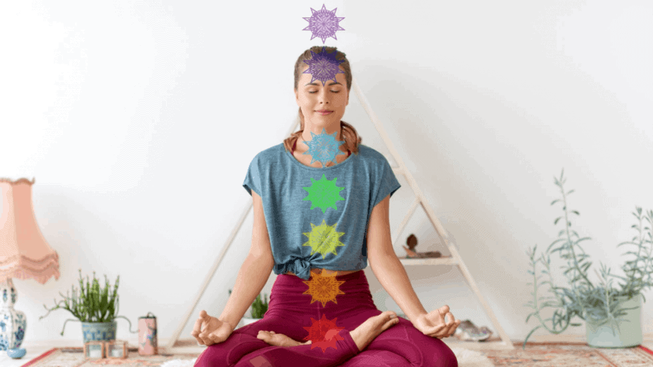 Decorative image of a woman meditating with chakras