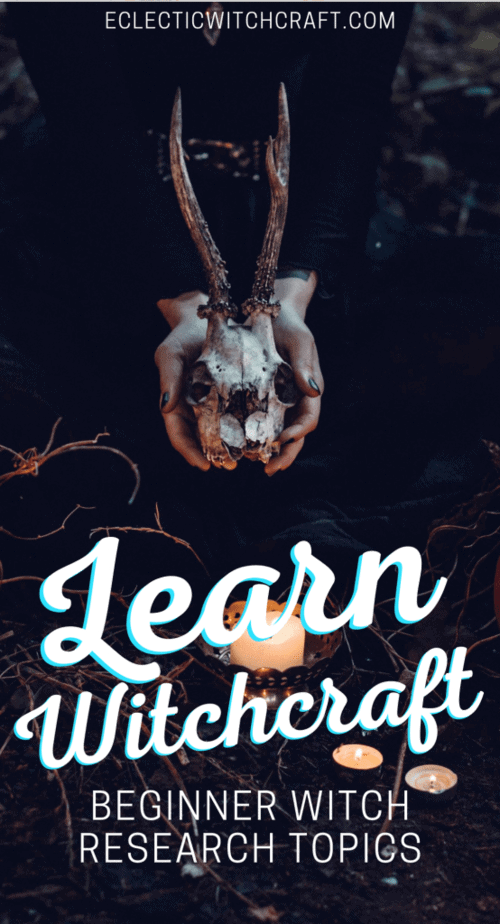 Learn witchcraft with these beginner witch research topics. New and improved post with lots more info for witches and pagans. Learn what you need to learn to become a witch. #witch #witchcraft #pagan #wicca