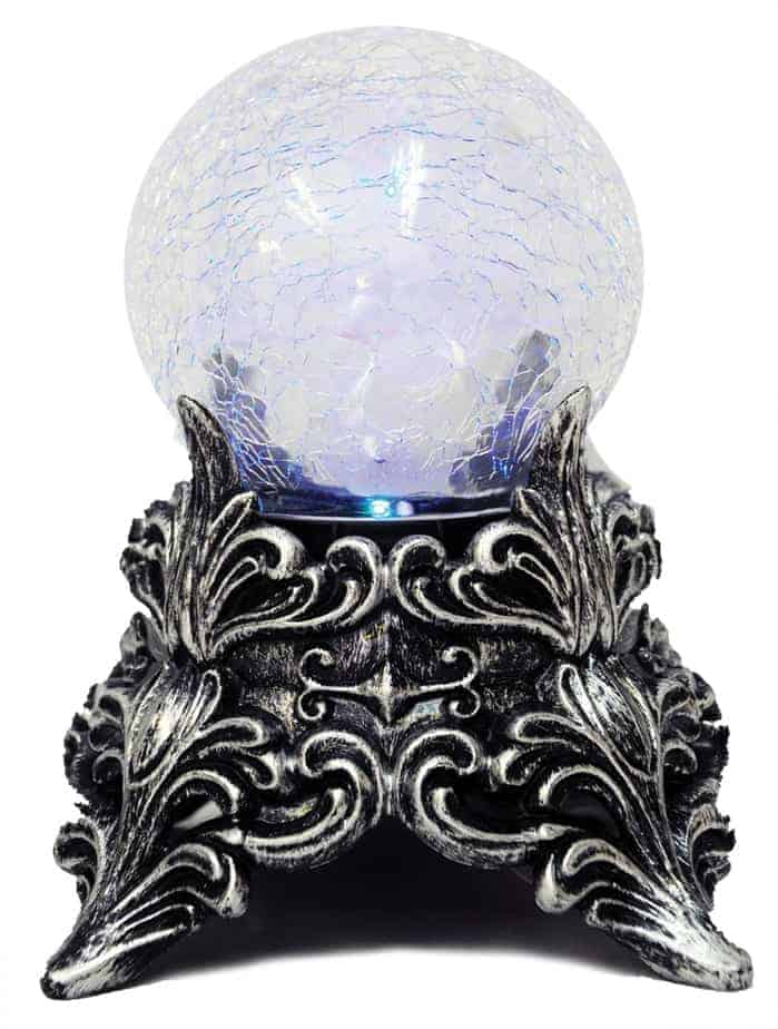 Crackle glass lavender crystal ball with aged silver decorative base
