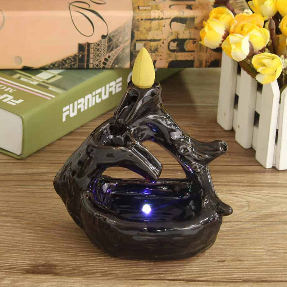 LED Light Buddhist Ceramic Waterfall Censer Burner Holder With 5 Incense Cones Without Battery