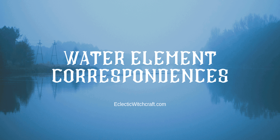 White text that reads water element correspondences on a foggy lake