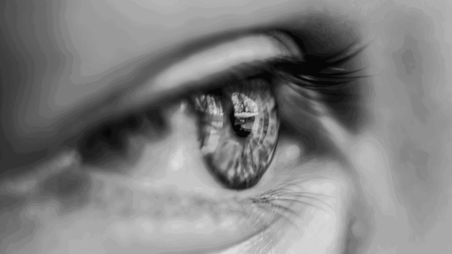 Decorative image of an eye in black and white