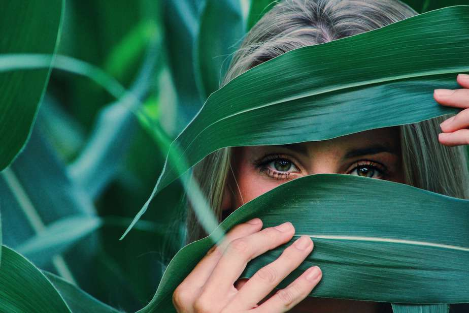 woman covering her face with corn leaves