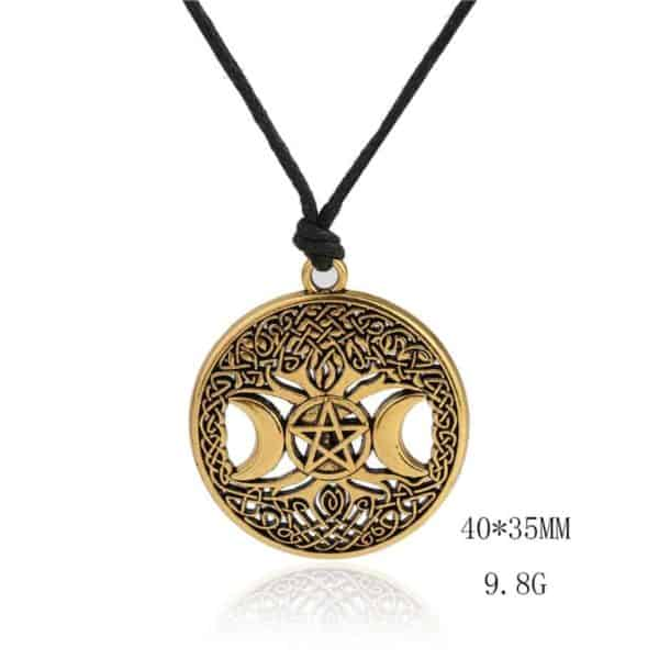 "Decorative Image | Large Triple Moon And Celtic Tree Wiccan Pendant Necklace | The pendant on this necklace is large with powerful symbols. Featuring the symbols:  * Pentacle * Triple moon * Tree of life * Celtic knots  Material: Zinc Alloy Pendant size: 31mm x 34mm(1.22 x 1.33"") Necklace length: Adjustable rope 40-70cm"