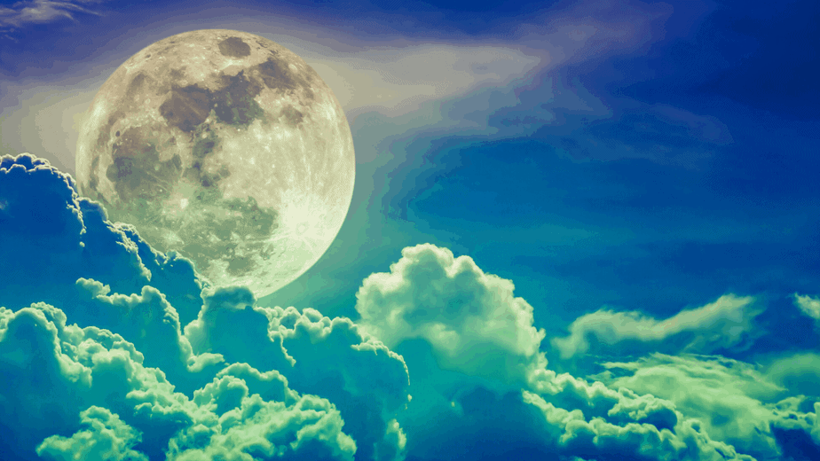 Decorative image of the moon in blue and green clouds