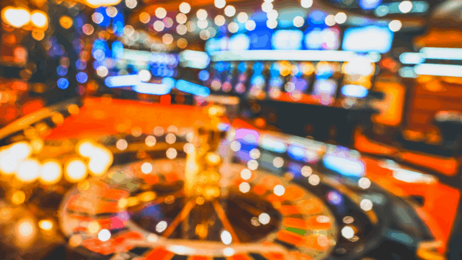 Decorative image of a blurry casino where you can use the talismans created with this gambling spell