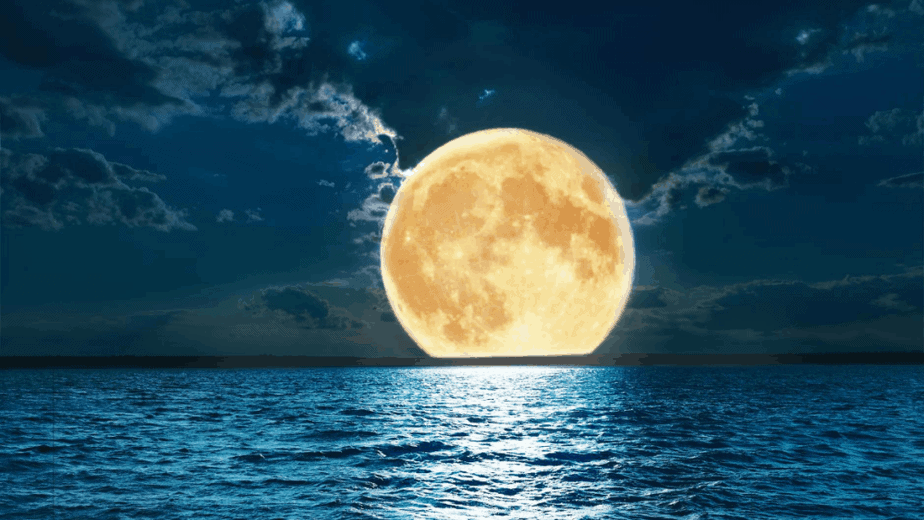 Decorative image of the yellow moon over a blue lake
