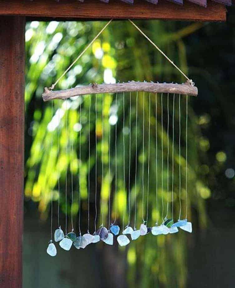 Seaside Raindrops Glass Stone Zen Wall Mobile
