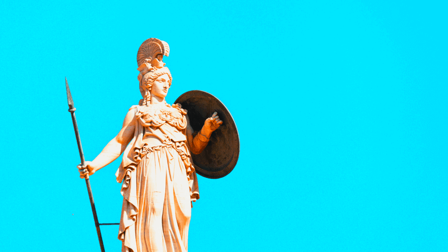 Decorative image of the goddess Athena against a blue background holding a shield and spear