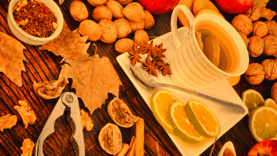 Decorative image of tea and spices for a Mabon kitchen witch gathering