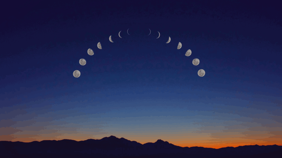Decorative image of the moon phases in the night sky