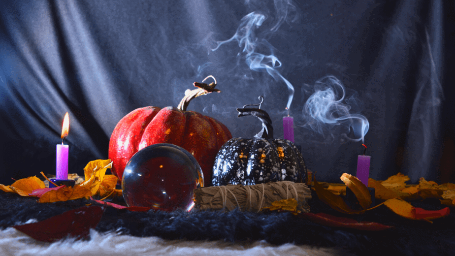 Decorative image of decorations for Samhain or witch's Halloween