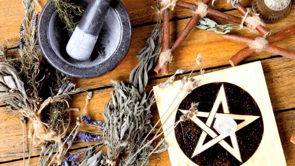 Decorative image of herbalism for witches