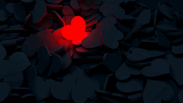 Decorative image of a red heart among black hearts