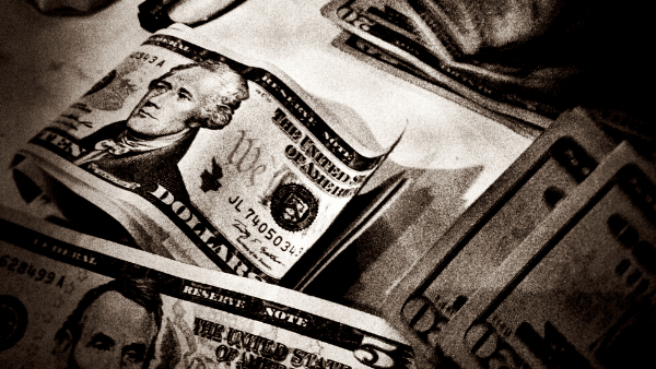 Decorative image of money in black and white