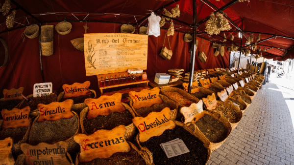 Decorative image of an herbal market