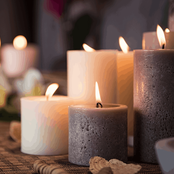 Decorative image of gray and white candles