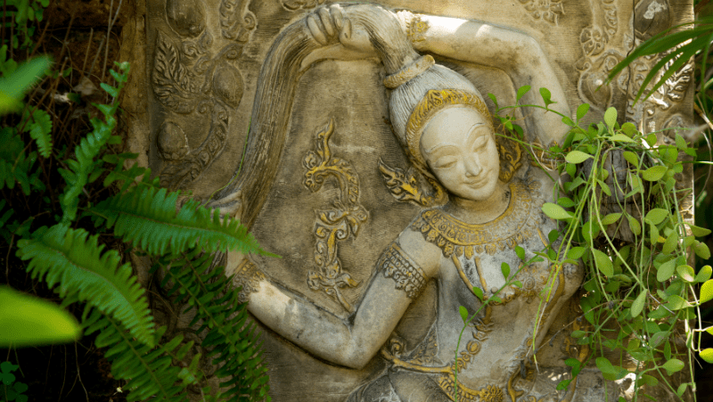 Decorative image of a goddess statue