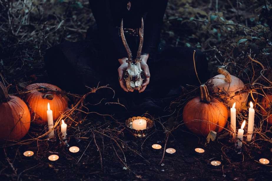 brown pumpkin halloween decor and gray skull at grass field. Decorative image for Samhain Pumpkin Bread.