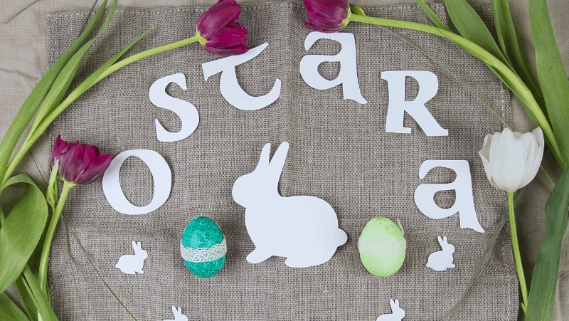 Ostara or pagan Easter decorations with a white rabbit, flowers, and eggs.