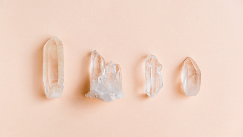 Clear quartz on a peach background