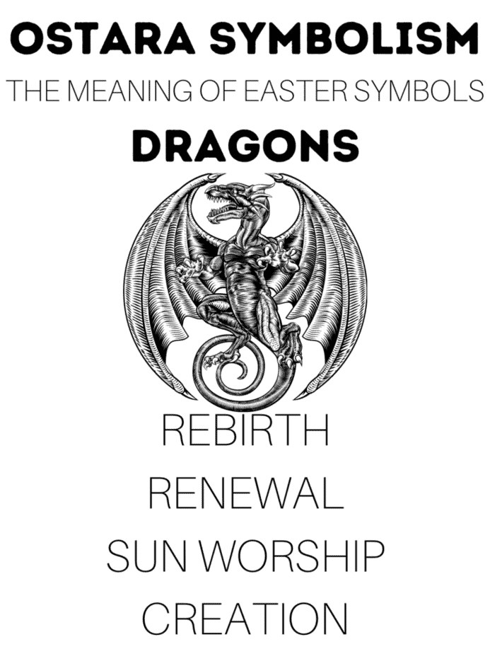 An infographic with the meaning of Ostara symbolism. This one features the dragon, which represents renewal and sun worship.