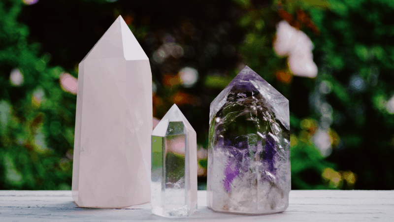 Amethyst, quartz, and rose quartz crystals