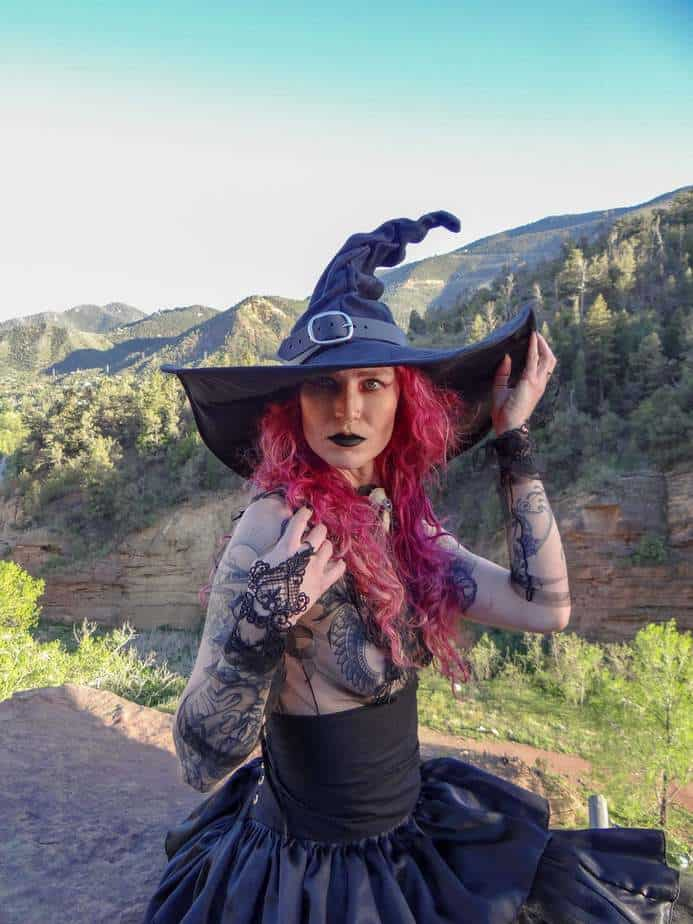 Black Suede Witch Hat