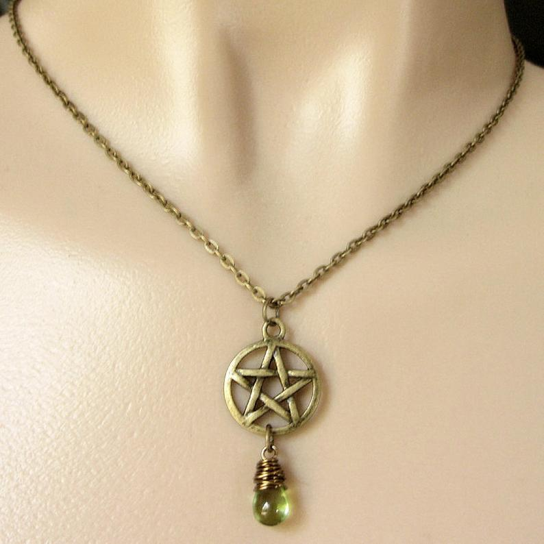 Pentacle Tear Drop Necklace With Colored Glass Bead