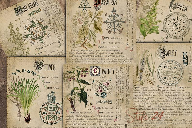 Witchcraft Grimoire Herbal Pages
