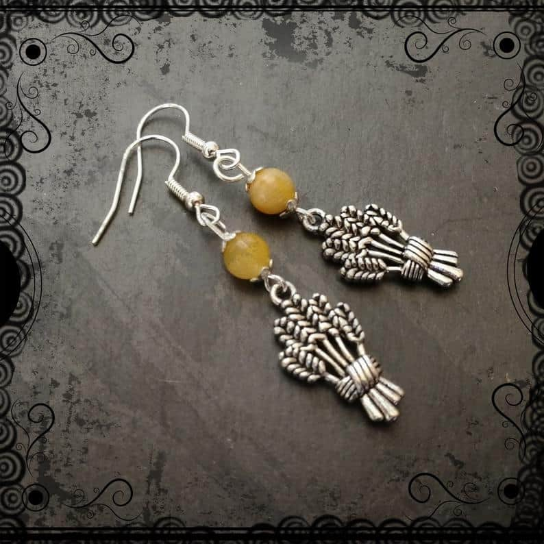 Autumn Wheat Earrings With Yellow Jade