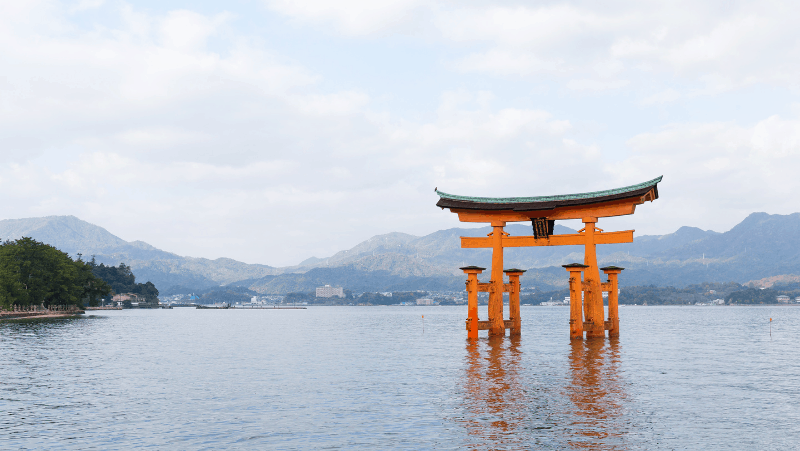 A Shinto shrine submerged in water.