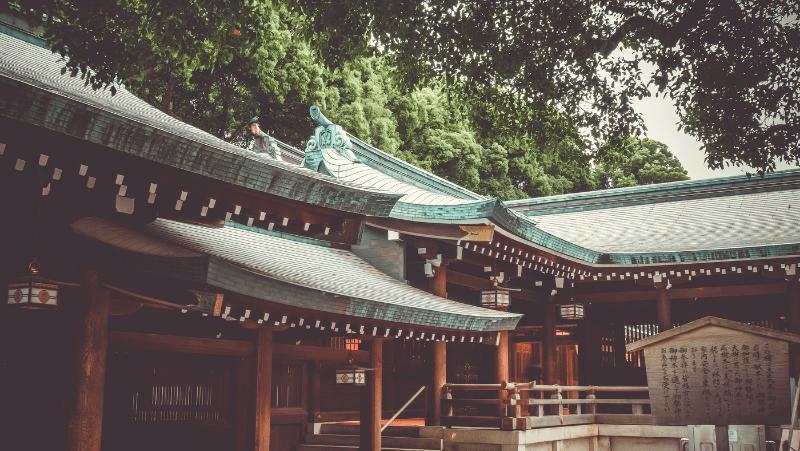 The courtyard of a Japanese shrine.