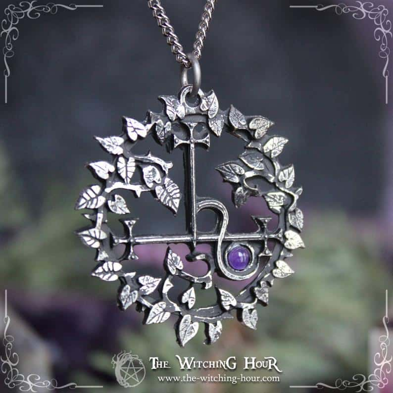 Sigil Of Lilith Pendant With Gemstone