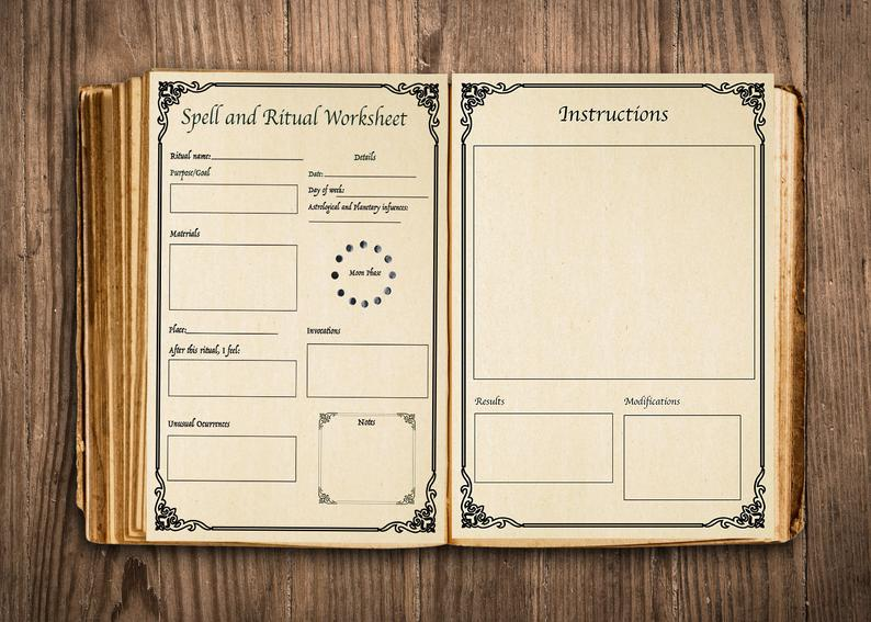 Spell And Ritual Templates For Your Book Of Shadows