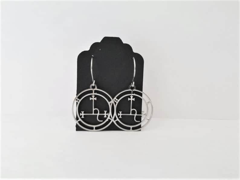 Stainless Steel Lilith Sigil Dangle Earrings