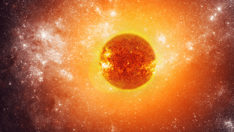 The sun in a celestial sky