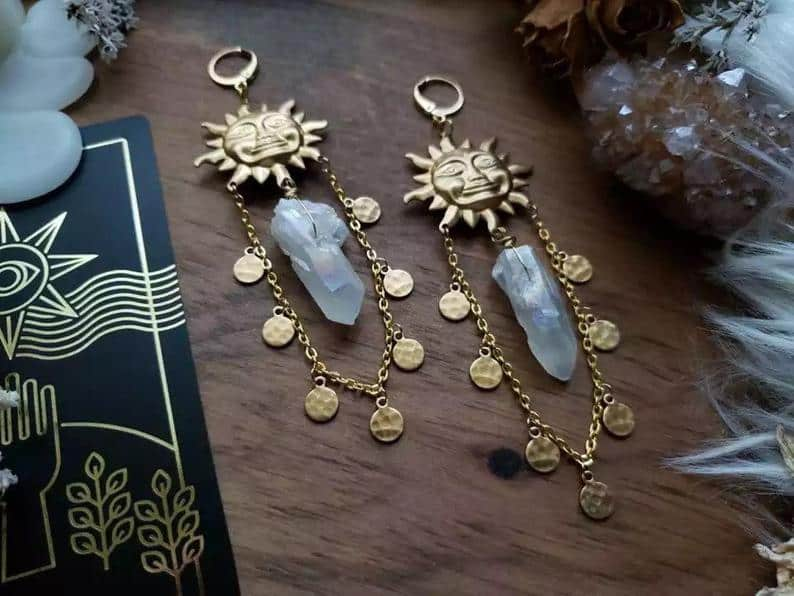 Tarot Sun Goddess Quartz Earrings