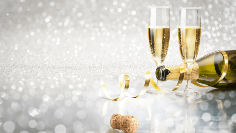 Champagne and Champagne glasses on a bokeh background