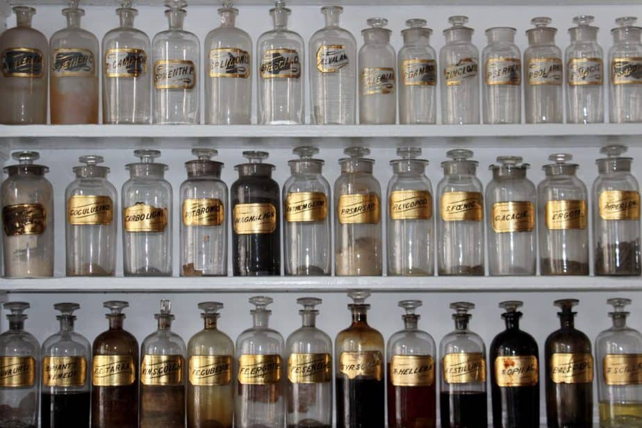 Old medicine shelf