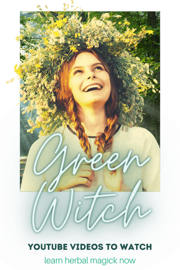 Green witch youtube videos to watch for beginner witches. Learn about herbal magick. A woman with a flower crown laughing in a sunny forest.