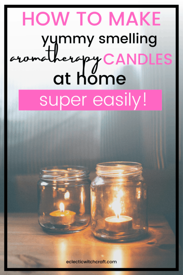 How to make yummy smelling aromatherapy candles at home super easily! Tea light candles in pickle jars on a wooden table.