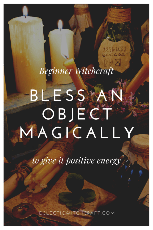 Beginner witchcraft: bless an object magically to give it positive energy. A witch's altar with lit candles, herbs, infusions, sigils, and jars.