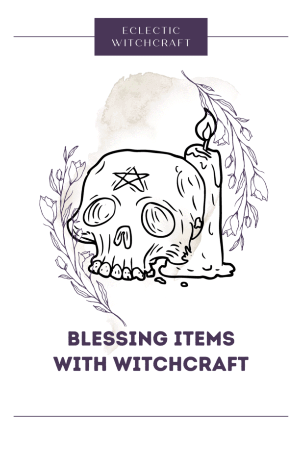 Blessing items with witchcraft. A skull with a pentagram on its forehead next to a lit candle. Lineart of flowers. A watercolor splash.